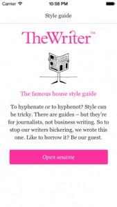 New writers' app
