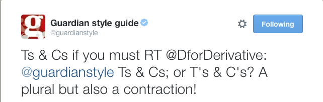 Guardian style guide tweet giving advice