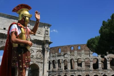 Roman soldier depicting Latin phrases