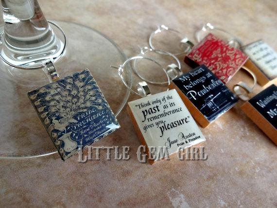 Jane Austen book wine charms